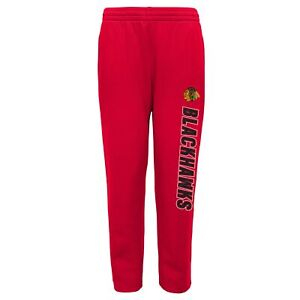 Outerstuff Chicago Blackhawks NHL Boys Youth (8-20) Post Game Fleece Pant, Red