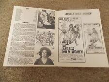 ANGEL'S WILD WOMEN(1972) KENT TAYLOR ORIGINAL 4 PAGE PRESSBOOK UNUSED