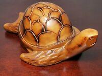 "Vintage Carved Wood Sea Turtle 8 1/4"" Long, Golden Brown Wood, ""TOTALLY DUDE!"""