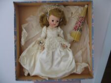 Vintage Hard Plastic Jolly Toy Co. Bride Doll In Box With Sleepy Eyes Open Mouth