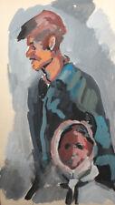 Vintage gouache painting expressionist portrait