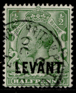 BRITISH LEVANT GV SG L16, ½d green, FINE USED.
