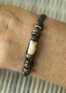 Bracelet Tribal Brown Beads Cylindrical And Wood Craft Handcrafted 21212