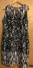 Calvin Klein Womens Stretch Leopard Print Black Peach Dress Sz 14 NWT $134