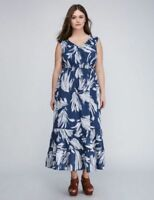Lane Bryant Tiered Tropical Maxi Dress Teal Blue Gray Tan Leaf 18/20
