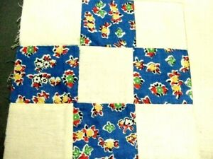 Vintage 9-Patch Baby Quilt Top with Blue Floral Patches