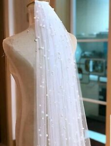 UK 1 Layer Cathedral Length Bridal Veil 3 meters Pearls Wedding Veil With Comb