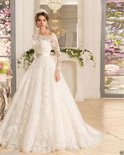 White/ivory Lace Long Sleeve tulle+lace Wedding dress Bridal Gown Custom Size