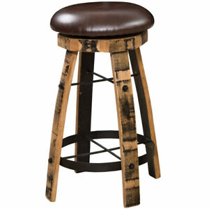 Barrel Bar Stool with Leather Swivel Seat Amish Made Reclaimed Wood!
