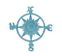 Zeckos Weathered Blue Cast Iron Compass Rose Wall Hanging