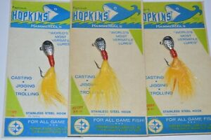 3 vintage hopkins hammer tails 3/8oz #2 chrome yellow Jig jigging cottage decor