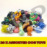 20 x ASSORTED  PET DOG SQUEAKY CHEW ROPE BALL RUBBER FETCH TOYS