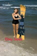 #BA n Amateur 35mm Slide-Photo- Young Woman With Ski's at Ocean 1958