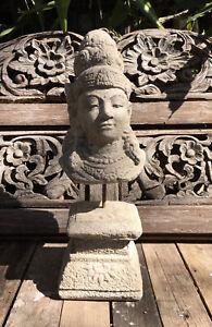 Balinese Lady Tara Goddess Head on a Stand -Garden Feature-Natural Grey 45 Cm