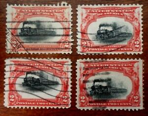 Buffalo Stamps:  Scott #295 Fast, Slow, Flying & Grounded Train Lot, Unique.
