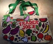 Lot of 2 TRADER JOE'S Fruit & Veggies Reusable Shopping Cotton NWT Grocery Bags