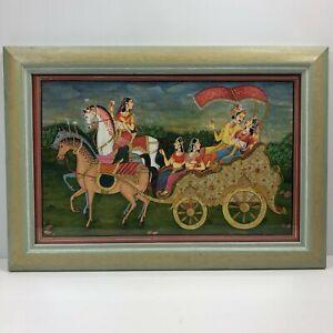 Framed Handmade Indian Miniature Moghul Art Painting Regal Horse Carriage