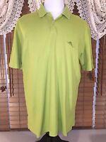 Mens TOMMY BAHAMA L Large Green Marlin SS Polo Cotton Blend Shirt EUC