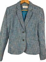 Women's Calvin Klein Blazer Jacket Size 12 Blue White Black Tweed Lined Button