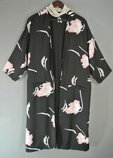 Black🌸 Pink Floral Long Jacket Formal Oriental Cover up M NEW 1 State Kimono 🌸