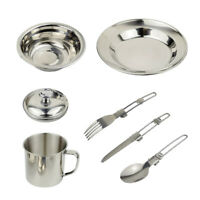 1 Set 6 in 1 Outdoor Tableware Mess Kit with Knife Fork Spoon Picnic Travel