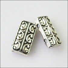 12 New 2-2Holes Bars Connectors Charms Tibetan Silver Tone Spacer Beads 7.5x14mm