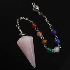 Popular Hexagon Pyramid Chakra Chain Natural Rose Quartz Pendant Fashion Jewelry