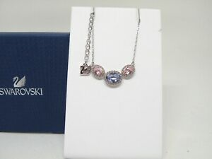 "Authentic Swarovski ""CHRISTIE""  Crystal 3 Ovals Necklace Rhodium  New in Box"