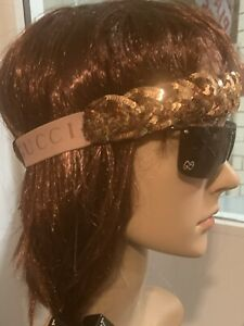 BNWT Authentic Gucci Gold Sequinned Braided  Headband Hairband RRP £490 Size M