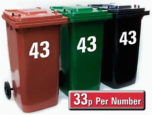 "4 X White Wheelie Bin Stickers House Number - 7"" High & Recycling  Bin Stickers"