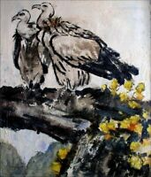 Stretched, Quality Hand Painted Oil Painting Pair of Condors 20x24in