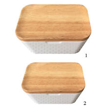 Butter Dish with Lid Keeper with Wood Top & Plastic Lid for Airtight Storage of