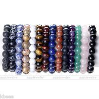 Natural Stone Gem Gemstone Round Beads Stretchy Bracelet Bangle 10mm Gift U Pick