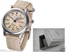 SEIKO 5 SNK803K2+BOX AUTOMATIC military WATCH (CAL.7S26C) Beige face nylon strap
