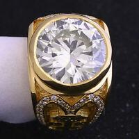 6Ct Round Cut D/VVS1 Diamond Custom Unique Mens Ring 14K Yellow Gold Finish