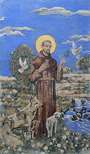 """Saint Francis of Assisi 48""""x81"""" Light Synthetic Blue Marble Mosaic FG1113"""