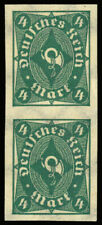 Germany 1922 4m Posthorn Imperforate Pair Mnh #179 var. vertical pair