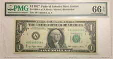 1977 $1 ONE DOLLAR BOSTON BANKNOTE, PMG GEM UNCIRCULATED 66 EPQ, Fr# 1909-A