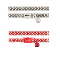 Ancol Reflective Gloss Heart Cat Collar with Bell ,Safety Buckle in Red , Silver