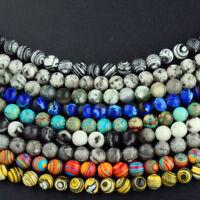 Natural Stone Sea Sediment Gemstone Round  Beads DIY Charm Bracelet 6mm 8mm 10mm