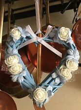 Wicker Heart Floral Shabby Chic Country Farmhouse Blue Ivory White
