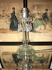 Vtg Antique Art Deco Glass Prism Hurricane Table Lamp Boudoir Mantle Lustre WRKS