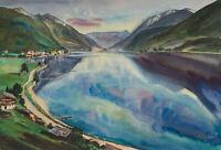 Carl WALTHER (1880-1956), Gebirgssee, Aquarell