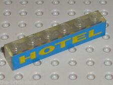 Brick clear 1 x 6 with Yellow/Blue HOTEL Pattern ref 3067p14 / Light brick