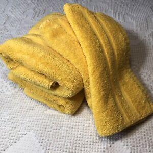 Vintage Ralph Lauren Hand Towel Washcloth 4 PC Bright Yellow *PLEASE READ