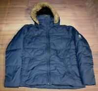 Columbia Faux Fur Hoodie Winter Down Puffer Parka Jacket Womens Large Blue