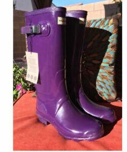 NEW WOMEN'S HUNTER TALL RAIN BOOTS IN Purple SIZE 7 us, 38 Eur
