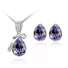 Stylish Jewellery Set Deep Purple Angel Tear Studs Earrings & Necklace S356
