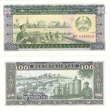 Laos Lao 100 Kip 1979 P-30a UNC Uncirculated Banknote - Farming Bridge Soldier