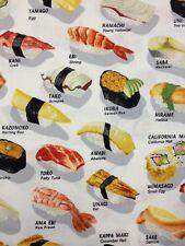 FF17 Sushi Sashimi Japan Food Retro Asian Cotton Quilt Fabric